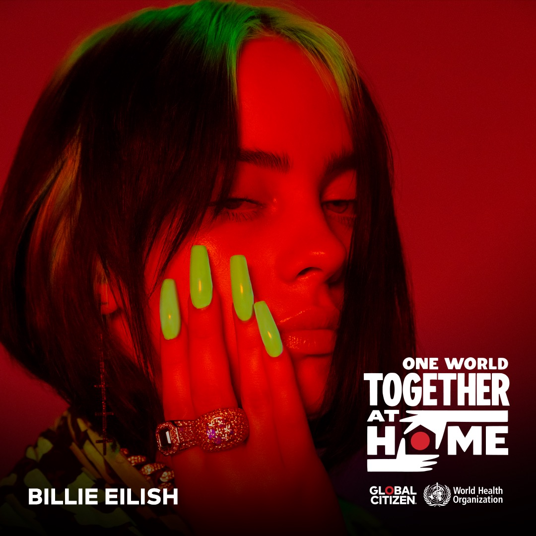 Watch Billie perform live on @glblctzn's One World: #TogetherAtHome global broadcast. Tune in on April 18: https://t.co/l7uSLzq7E6 @WHO https://t.co/7FmQD7EClC