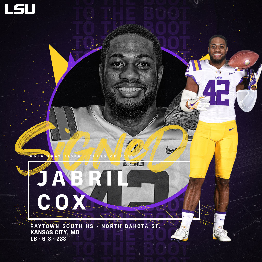 Hold That Tiger  Welcome to the LSU family, Jabril Cox!  🔗https://t.co/9DychABH3e https://t.co/Xjzoi4mpZu