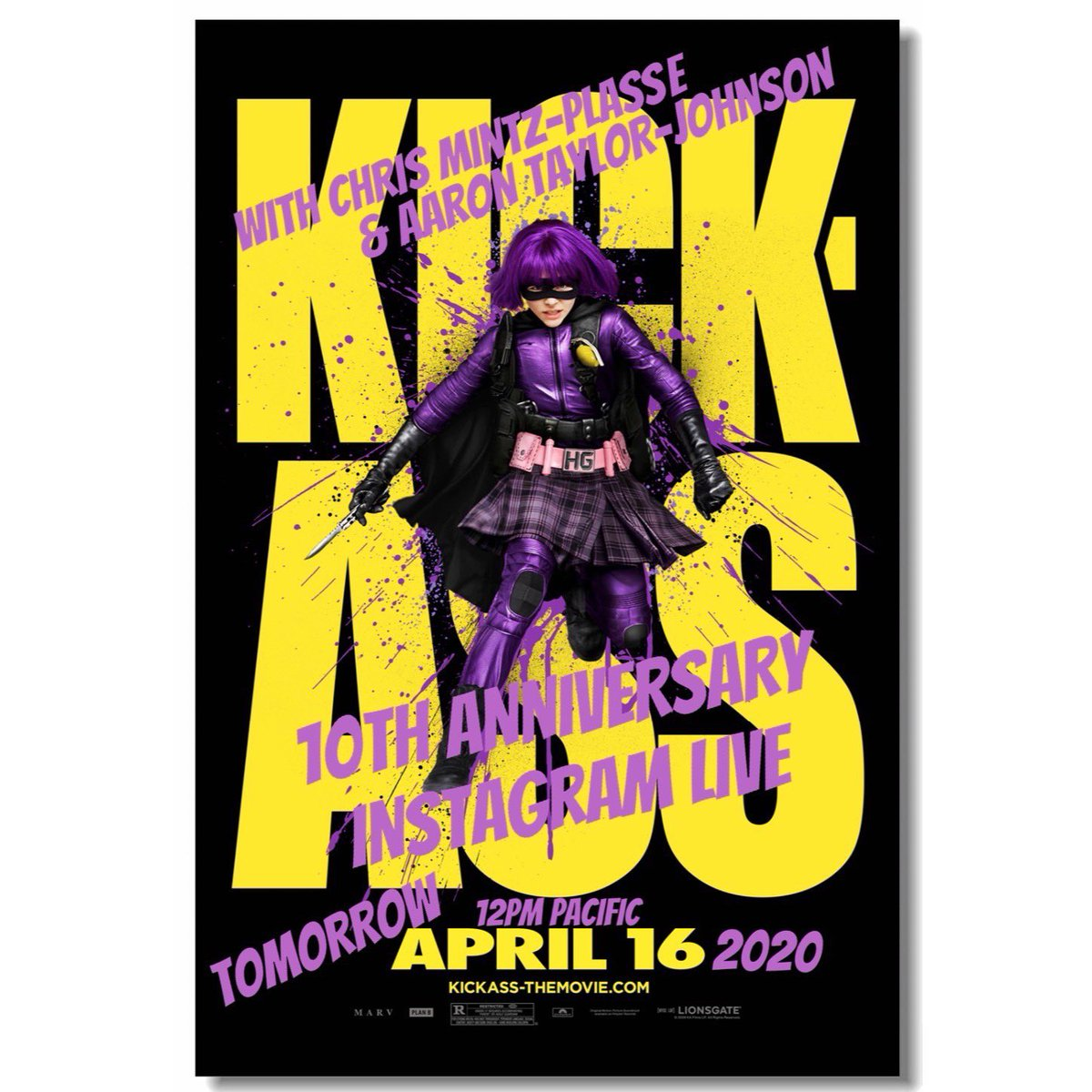So excited to tell you guys.. I was chatting with #aarontaylorjohnson and @MintzPlasse and we decided to go on my Instagram live tomorrow at 12pm Pacific time to chat with all of you about our movie #KickAss in honor of the 10th anniversary!! So think of your questions cya there! https://t.co/bLo1DHcCSP