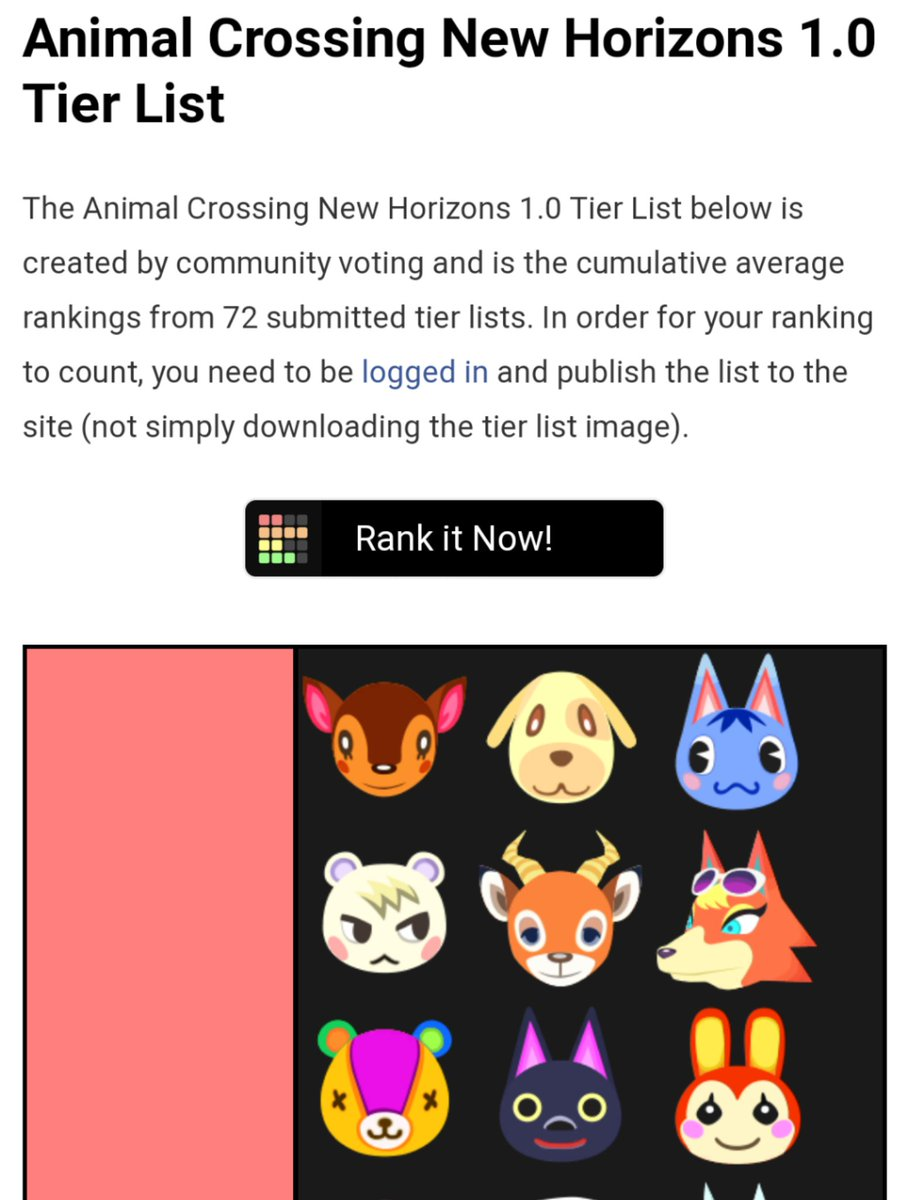 "TierMaker on Twitter: ""Animal Crossing New Horizons 1.0 Community ..."
