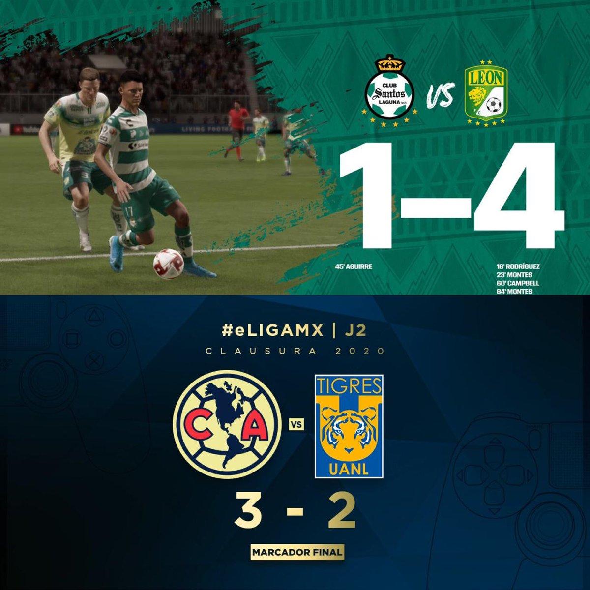 🚨🦠Ruge #LaFiera🦁 y vuelan alto 🦅🦠🚨‼️#MexicoUnido #TuCasaTuCancha #QuédateEnCasaYa •En la #eLIGAMX @clubleon #TeamSosa #Nickiller y @ClubAmerica #TeamGio salen triunfantes en esta #Jornada2 venciendo a @ClubSantos #TeamArteaga @tigresoficial #TeamPatón respectivamente https://t.co/i9gXfhWAfW