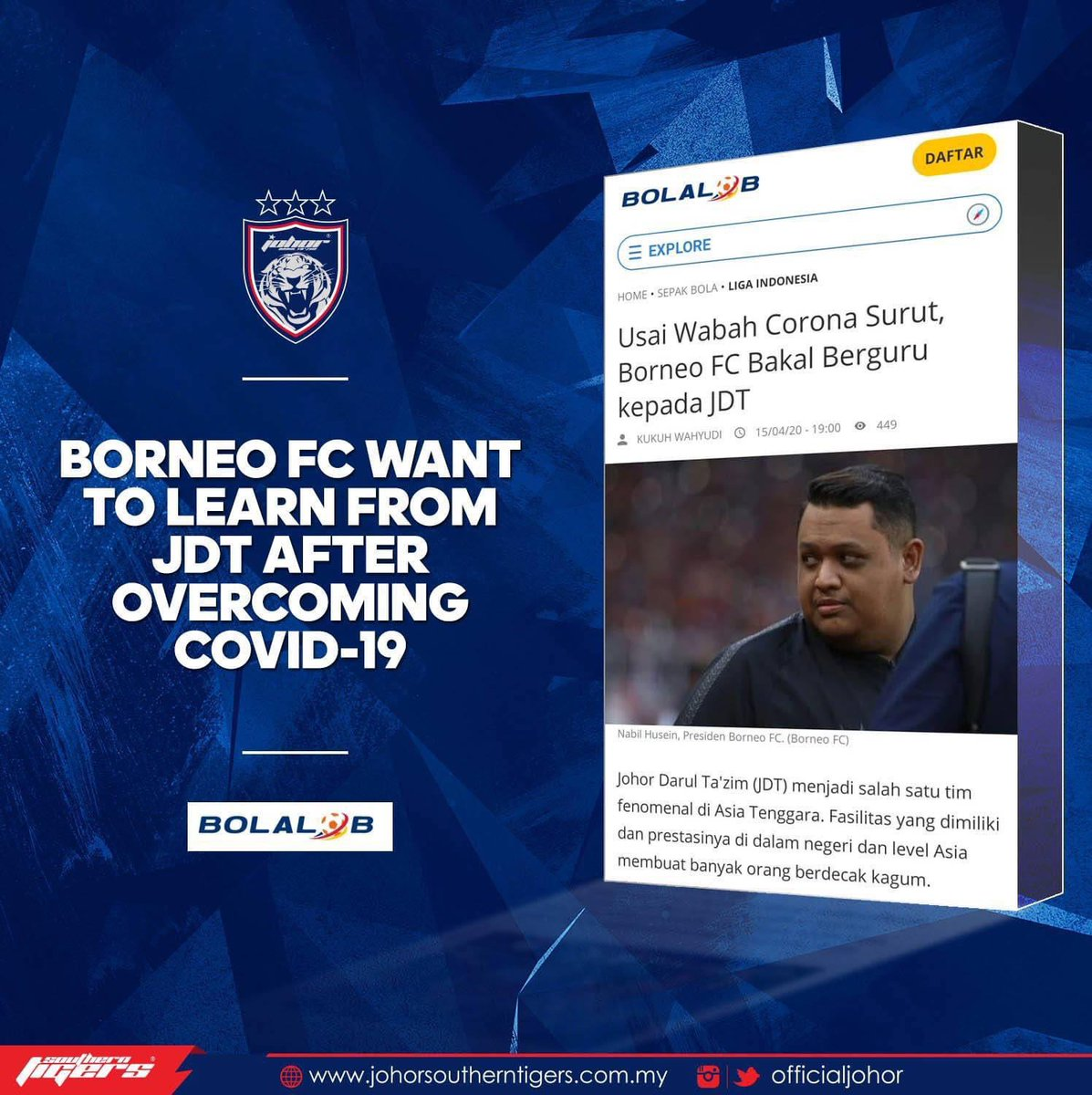 BORNEO FC WANT TO LEARN FROM JDT AFTER OVERCOMING COVID-19  An article by an Indonesian-based website highlighted the success and facilities of Johor Darul Ta'zim FC (JDT) and that it puts the club as a phenomenon in Southeast Asia.  [1/3] https://t.co/HrGWpeSYby
