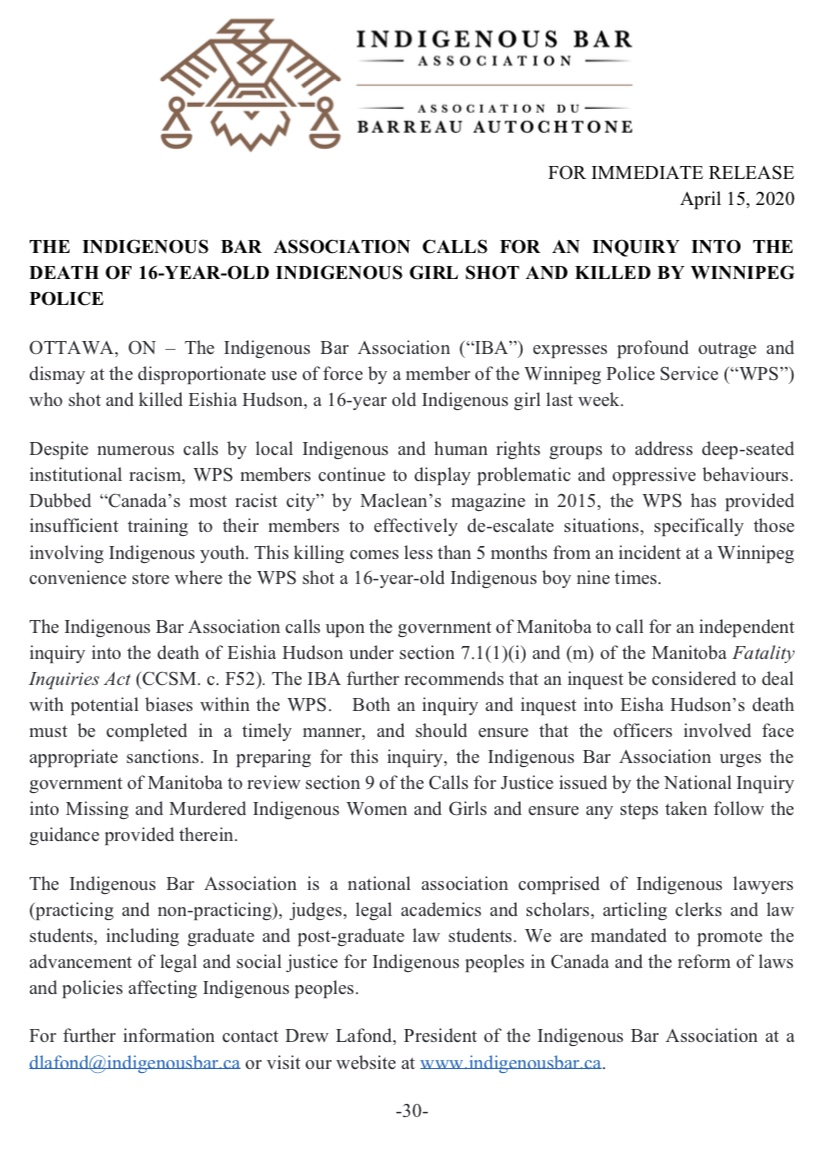 The Indigenous Bar Association calls for an inquiry into the death of 16-year-old indigenous girl shot and killed by Winnipeg Police    https://t.co/v33xTwMLz4 https://t.co/ir3A8cuTGf
