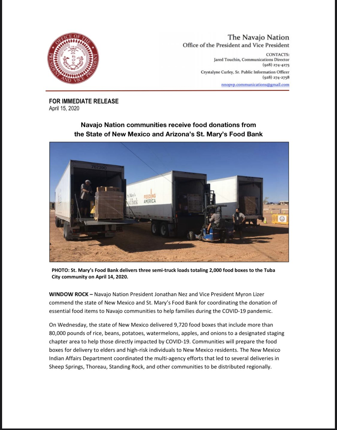 Navajo Nation President Jonathan Nez On Twitter Navajo Nation Communities Receive Food Donations From The State Of New Mexico Govmlg And Arizona S St Mary S Food Bank Stmarysfoodbank Ahe Hee Https T Co Jb0ktstnqk