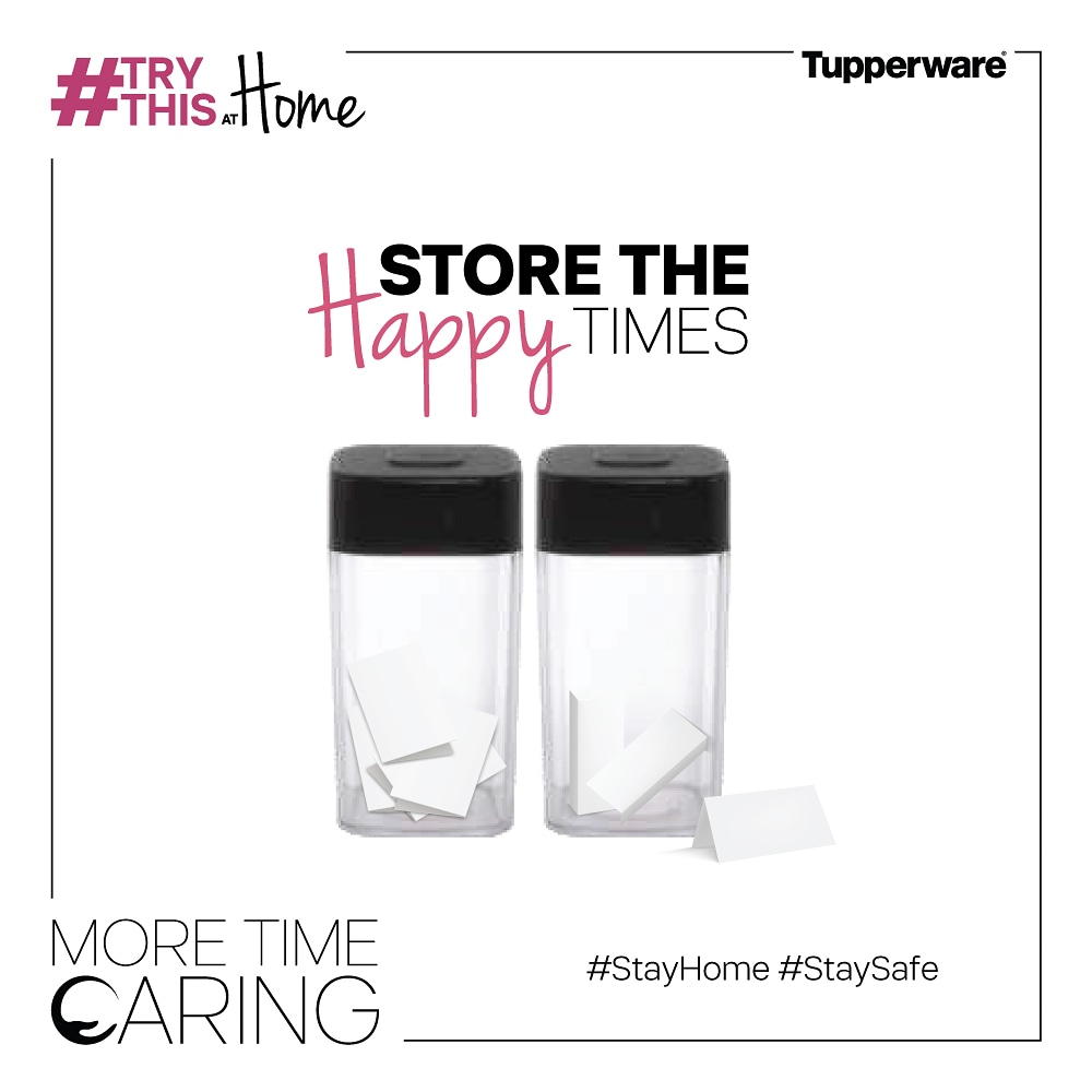 Did you know that you can use your Tupperware to keep memories fresh as well? Here is a super #TryThisAtHome tip. Write down your happiest memory of the day on a piece of paper and put it in a Tupperware every night. #MoreTimeCaring #StayHome #StaySafe https://t.co/a9AbfhpFuw