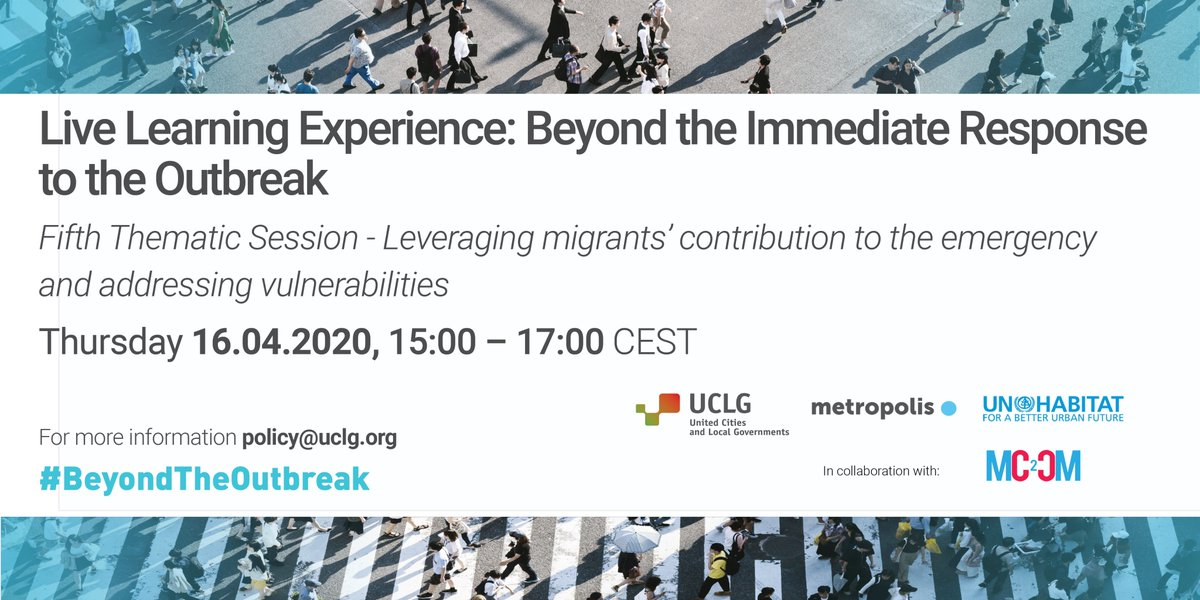 How are cities seizing the opportunity to leverage migrants' contribution to #COVID19 crisis? How to prevent further marginalization of migrant communities?   #Grenoble #Tunis #Lampedusa #Douala #Rabat #Quito #Sfax #Gaziantep will join us at today's #BeyondTheOutbreak sessionpic.twitter.com/Kh4akpoTu5