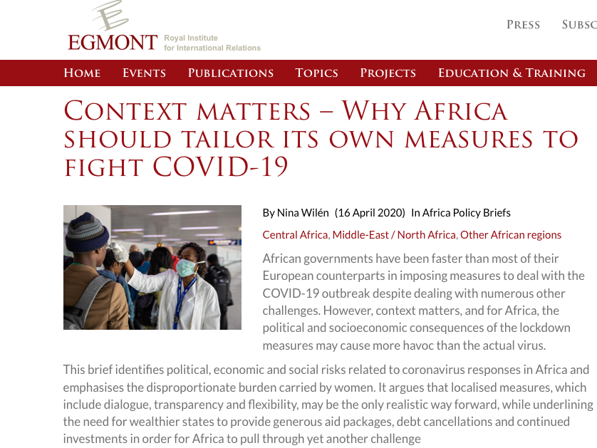 In my latest #Egmont brief, I analyse the likely political & socio-economic impacts from #COVID-19 in #Africa & suggest that innovative, localized community measures may cause less harm than gov't imposed lockdowns  https://t.co/T4kjtTQ4aC https://t.co/n32vB3bro2