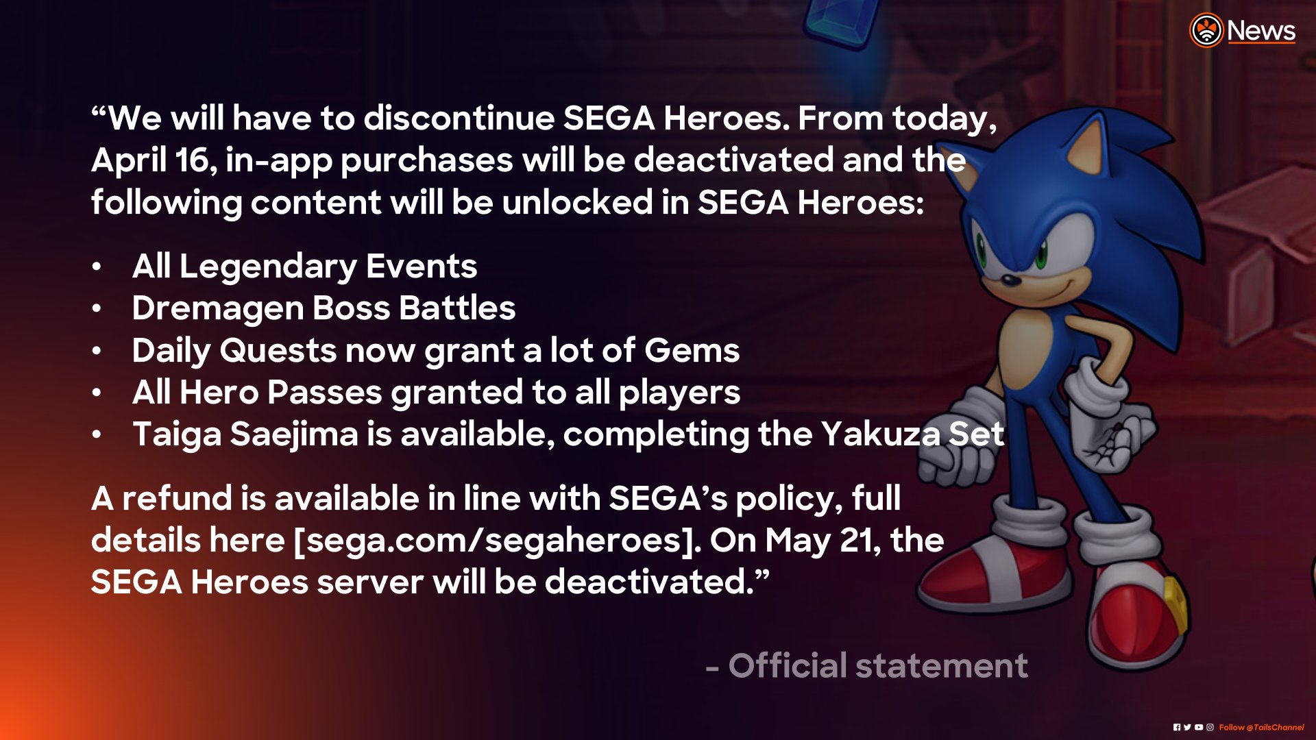 Tails Channel Sonic The Hedgehog News Updates On Twitter New Segaheroes To Be Discontinued 21st May After Demiurge Studios Splits Away From Sega Working With Such A Talented Team Has