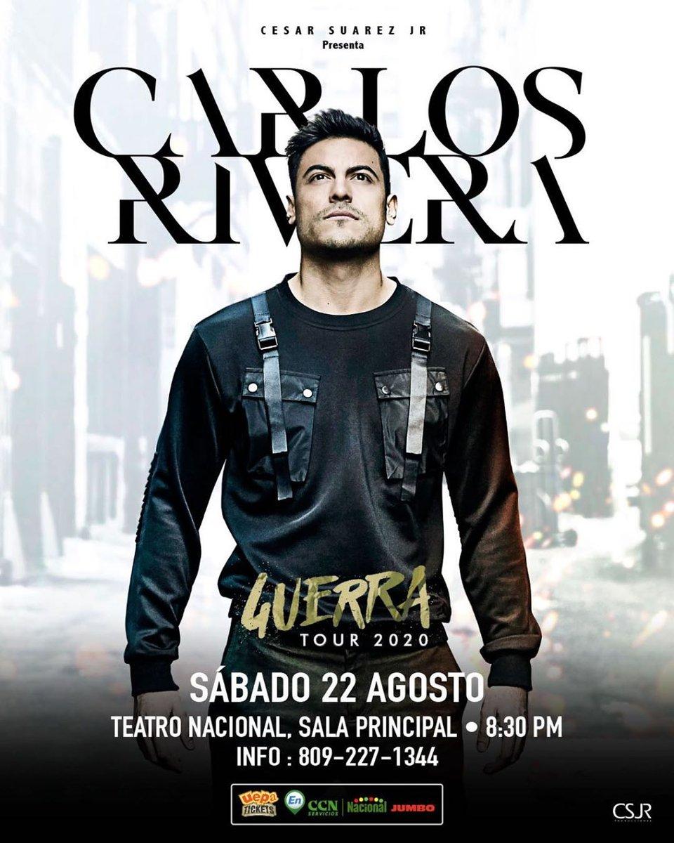 REAGENDADO@_CarlosRivera llegará con su #GuerraTour x primera vez a #RepúblicaDominicana el 22 de Agosto en Teatro Nacional @TN_EB (Sala Principal)   Boletas en @uepatickets https://uepatickets.com/Wizard/Default.aspx?id=11515#step-1…  Boletas adquiridas son válidas para nueva fechapic.twitter.com/0jSu0vcEDA