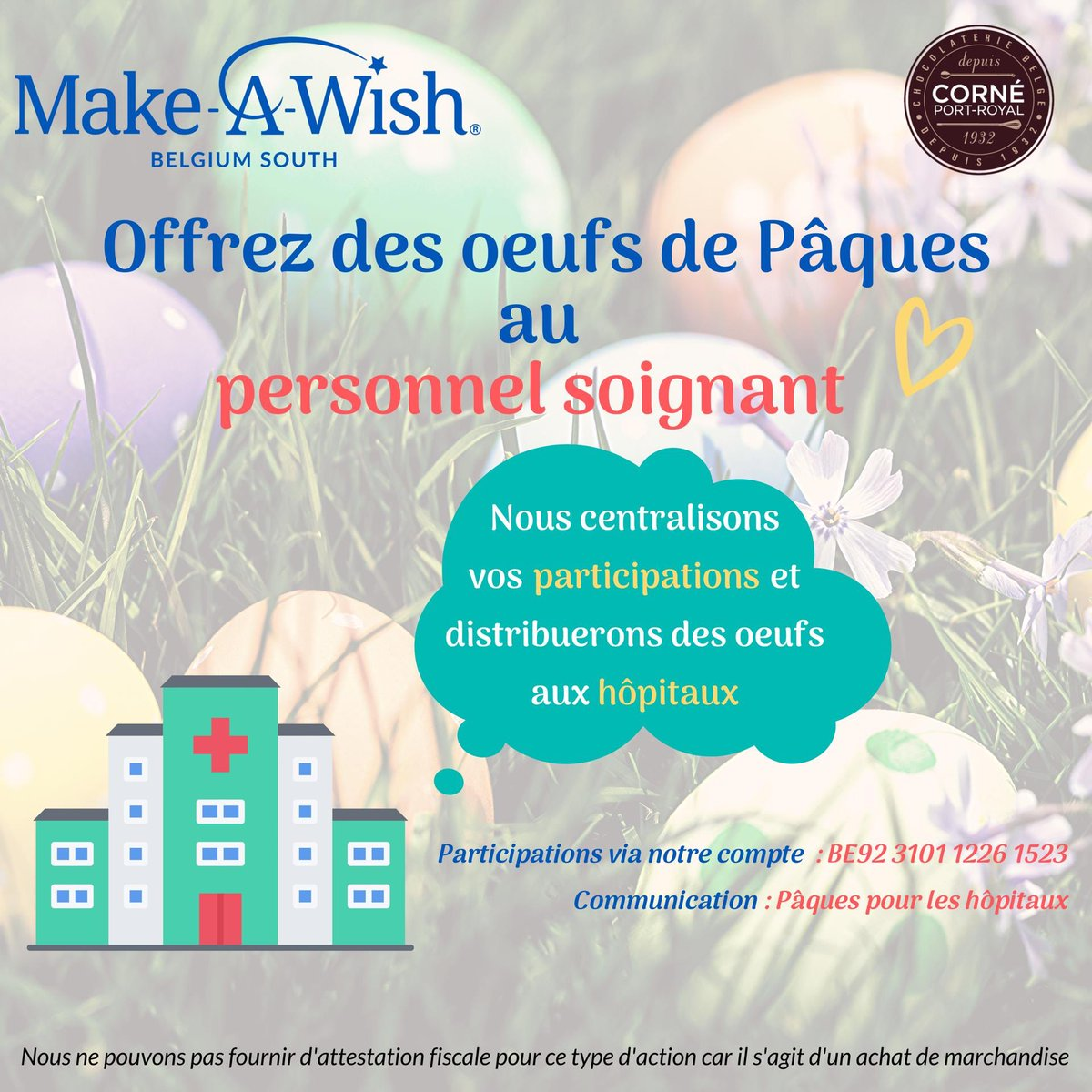 Make-A-Wish Belgium South wants to thank the hospital staff in Belgium by offering them Easter eggs 🐣 As godfather of Make-A-Wish, do like me and support them by paying the amount of your choice!  #makeawish #makeawishbelgiumsouth #onestensemble 👍🏿👌🏿 https://t.co/CdyATfv5CW