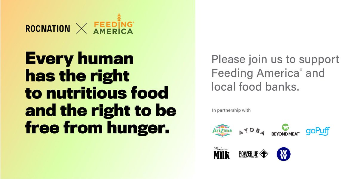 Roc Nation & @gopuff are proud to partner, providing 200K meals to @FeedingAmerica  and local food banks. Thanks to @AyobaYoUSA  @BeyondMeat  @DrinkAriZona  #ManhattanMilk @PowerupSnacks  @ww_us  and others for over 150K food products donated to help meet demands due to COVID-19 https://t.co/A4IsSfyssf