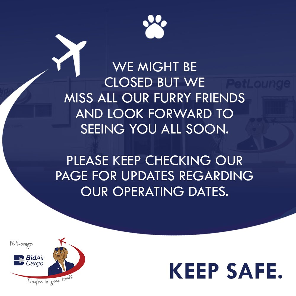 We miss all our furry friends and look forward to seeing you all again soon. Keep Safe! 🐾 #PetLounge #SafeSafe #Lockdown #southafrica #Covid_19SA #StayHomeSA https://t.co/p1xUmWQoQv