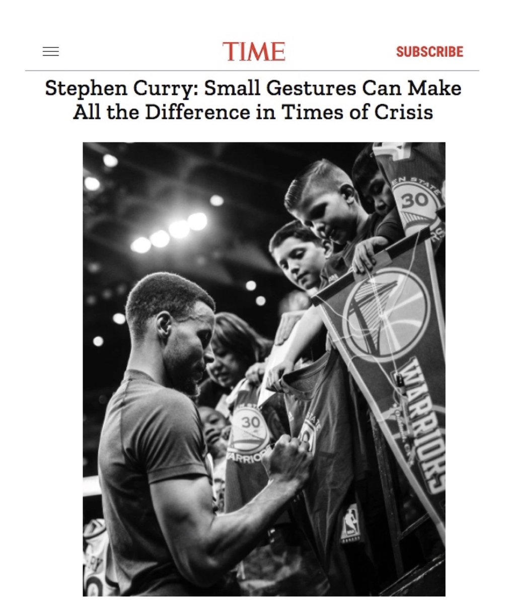 """""""My wife @ayeshacurry frequently says, 'Be the village to help people who are in need,' and that's what we're trying to do. Oakland has been our beloved city for more than 10 years."""" -@StephenCurry30 on our work for our Oakland village in @TIME. Read: https://t.co/g6EwBZ9UZD https://t.co/GTrAIccupg"""
