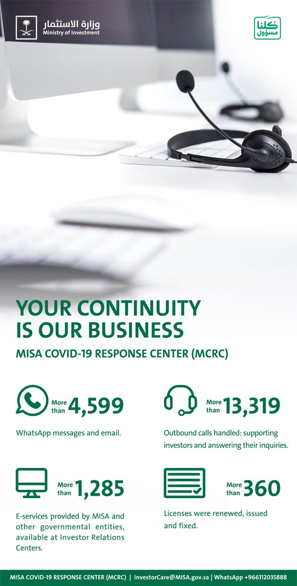 Your Continuity is our Business.   Do not hesitate to contact the #MISA COVID-19 Response Center (MCRC) to support you.   WhatsApp📱: +966112035888 Email📧: InvestorCare@MISA.gov.sa https://t.co/k9GD9GDouI