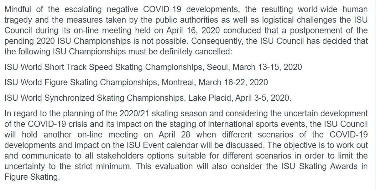 """A postponement of the pending 2020 ISU Championships is not possible."" #WorldFigure cancellations: 1915-1921: World War I 1940-1946: World War II 1961: Crash of Sabena Flight 548 2020: #COVID_19  https:// isu.org/isu-news/news/ 145-news/13139-isu-statement-definite-cancellation-of-pending-2020-isu-championships?templateParam=15  …  <br>http://pic.twitter.com/eOohRv9MnY"