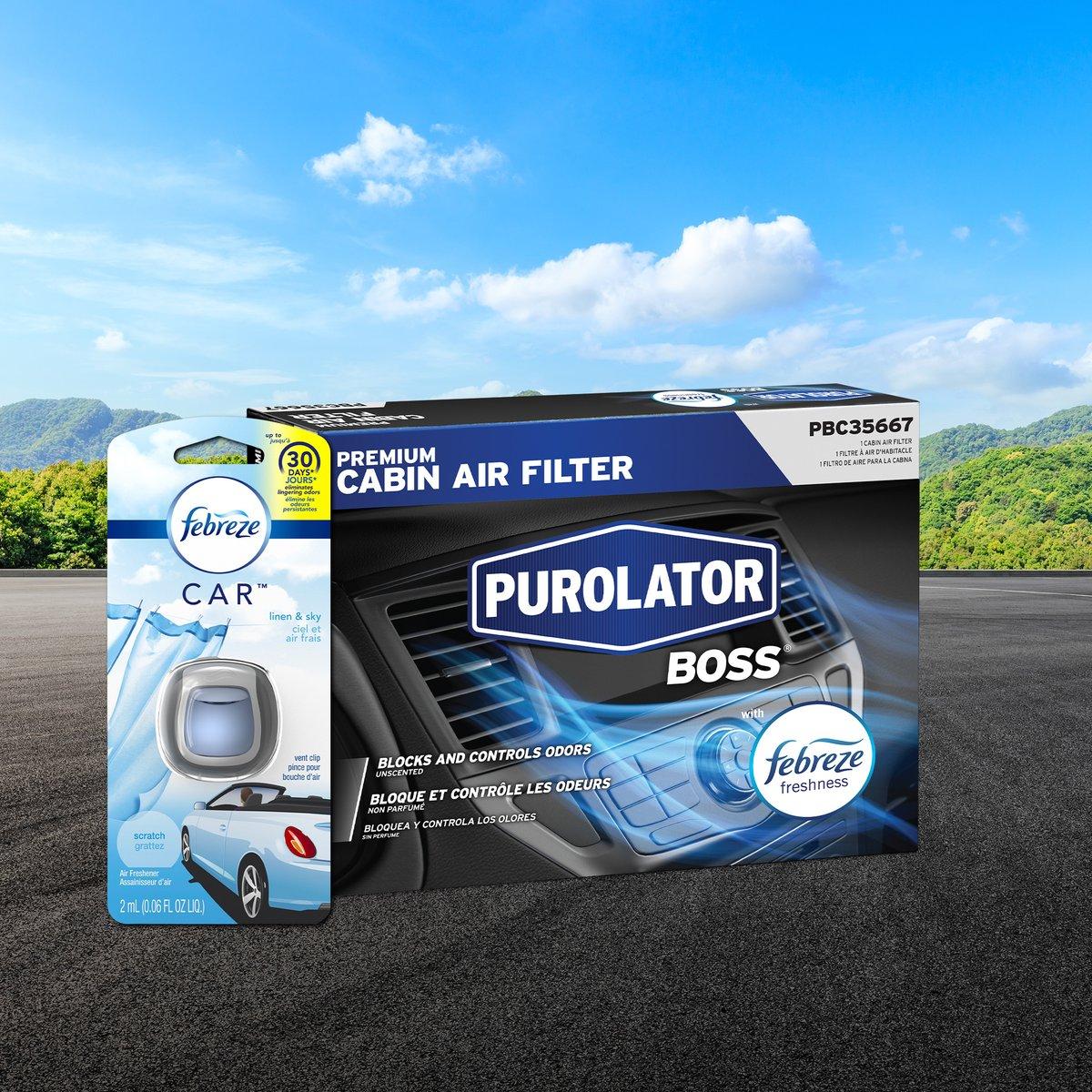 Febreze for #Free? Yep. Buy ANY PurolatorBOSS® Premium Cabin Air Filter from Advance Auto Parts. Get a FREE #Febreze Car Air Freshener. https://t.co/vPWsmGx52Z https://t.co/9J124S87rf