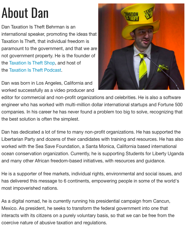 Dan Behrman 2020 Libertarian Candidate Taxation is theft Official Campaign Hat