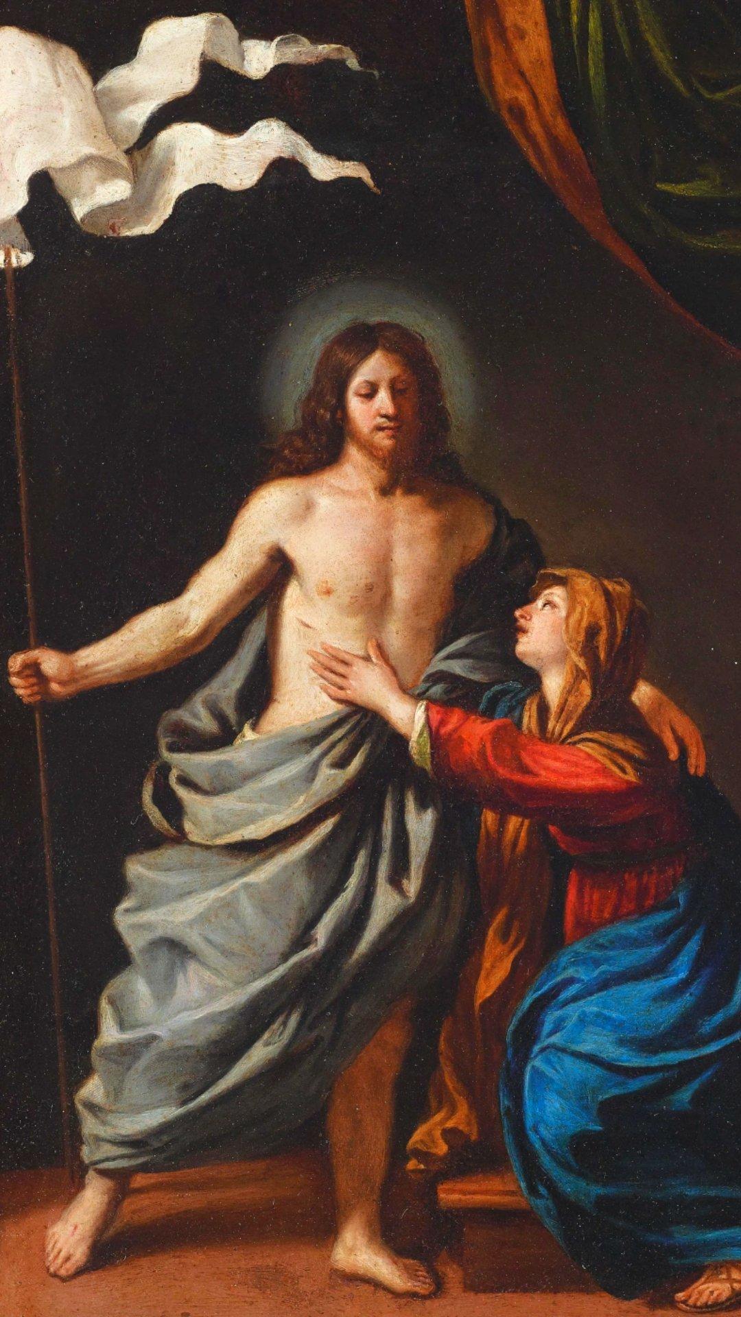 Wallpaper de Jesus Cristo Ressuscitado com a Virgem Maria para celular