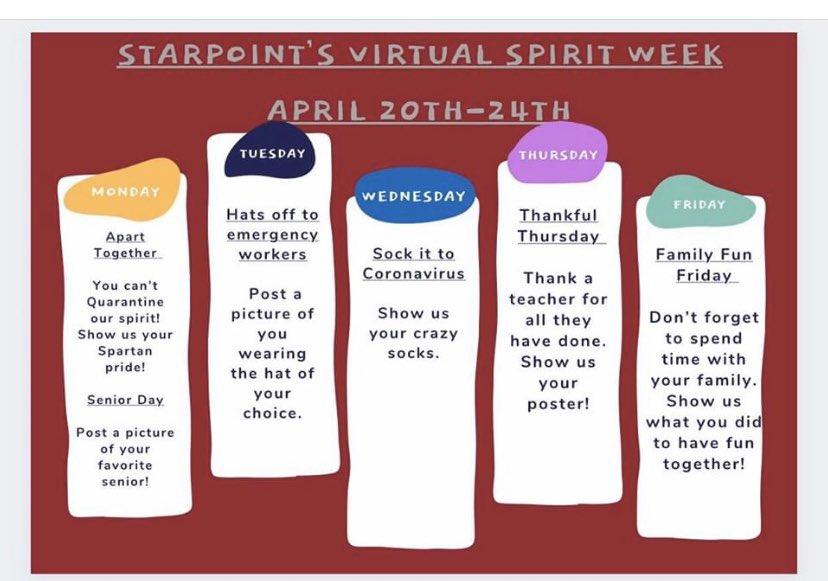 Starpoint and the Starpoint PTA is hosting a virtual STARPOINT SPIRIT WEEK!!!! Monday, April 20-24, 2020!! Take pictures during the week and email them to Ms. Maybach at dmaybach@starpointcsd.org. Your picture may be chosen to be on the Starpoint Facebook Page!