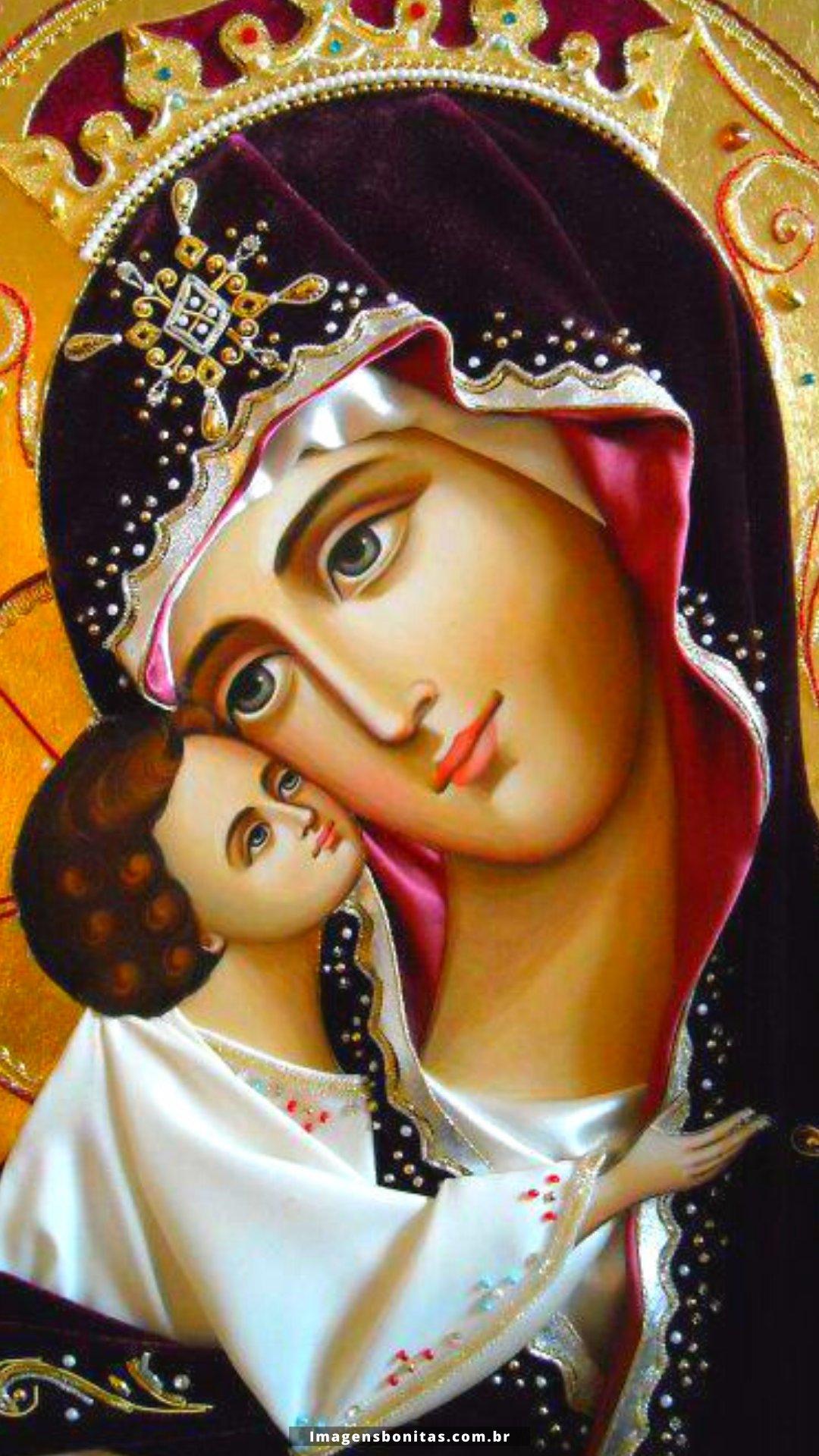 Wallpaper da Virgem Maria com o Menino Jesus para celular