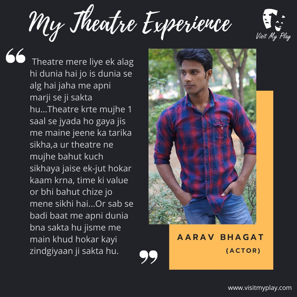 EXPERIENCE book. Have a look at what Aarav Bhagat shared with us.  #visitmyplay #theatrelife #theatreexperience #artist #actorslife #actor #theater #lovefortheatre #actorslife🎬#acting #bollywood #theatreplay #theatrearts