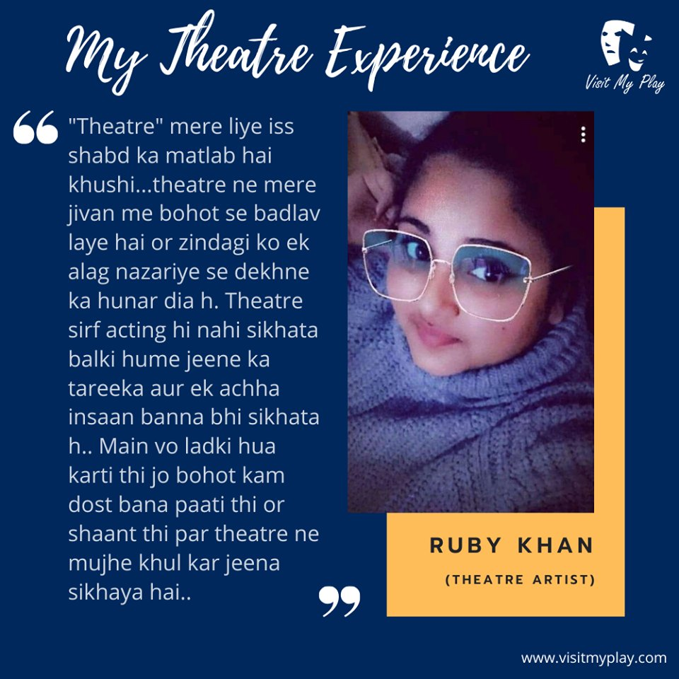 Here is another theatre artist Ruby Khan sharing her experience in theatre. Have a look. #visitmyplay #theatrelife #theatreexperience #artist #actorslife #actor #theater #lovefortheatre #actorslife🎬#acting #bollywood #theatreplay #theatrearts