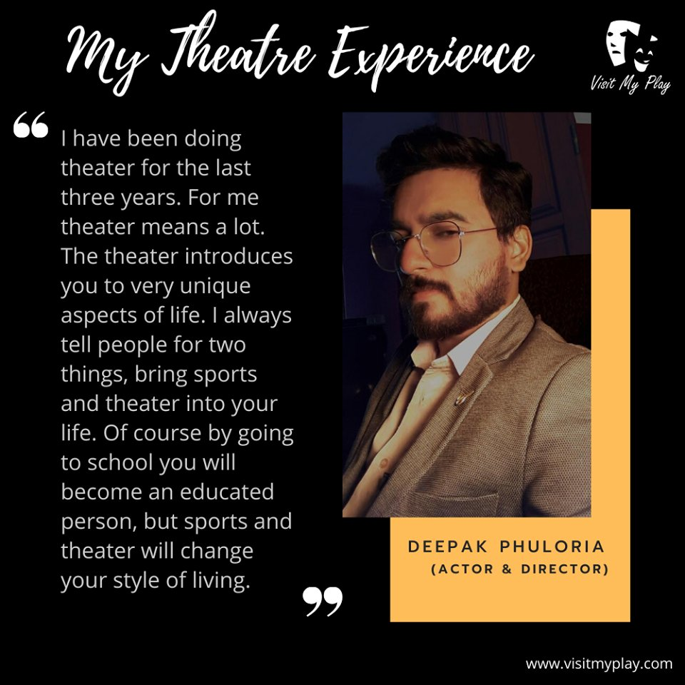 Know the two things that Deepak Phuloria tells everyone as a suggestion for life in his words of theatre experience. #visitmyplay #theatrelife #theatreexperience #artist #actorslife #actor #theater #lovefortheatre #actorslife🎬#acting #bollywood #theatreplay #theatrearts