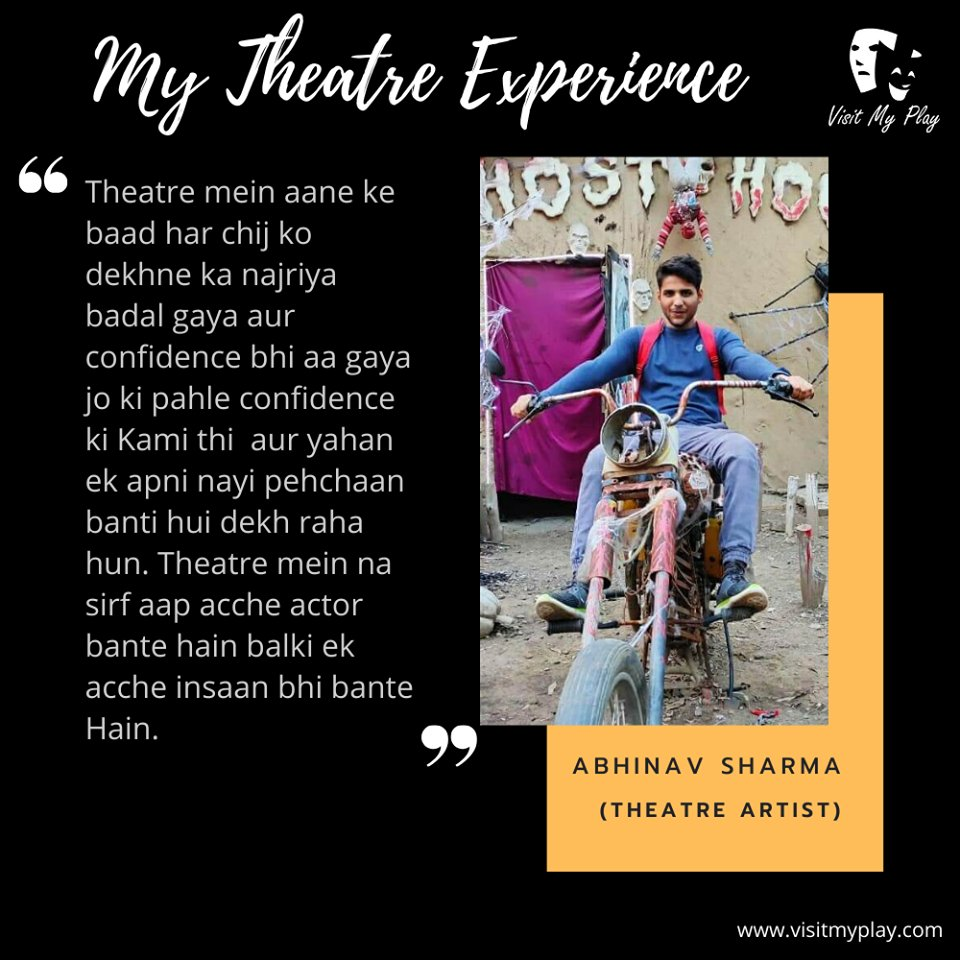 Here is another theatre artist Abhinav Sharma sharing her experience in theatre. Have a look. #theatrelife #theatreexperience #artist #actor #theater #lovefortheatre #shareyourstory #shareexperiences #mytheatrelife #theatreplay #theatrearts #actorslife🎬#acting #bollywood