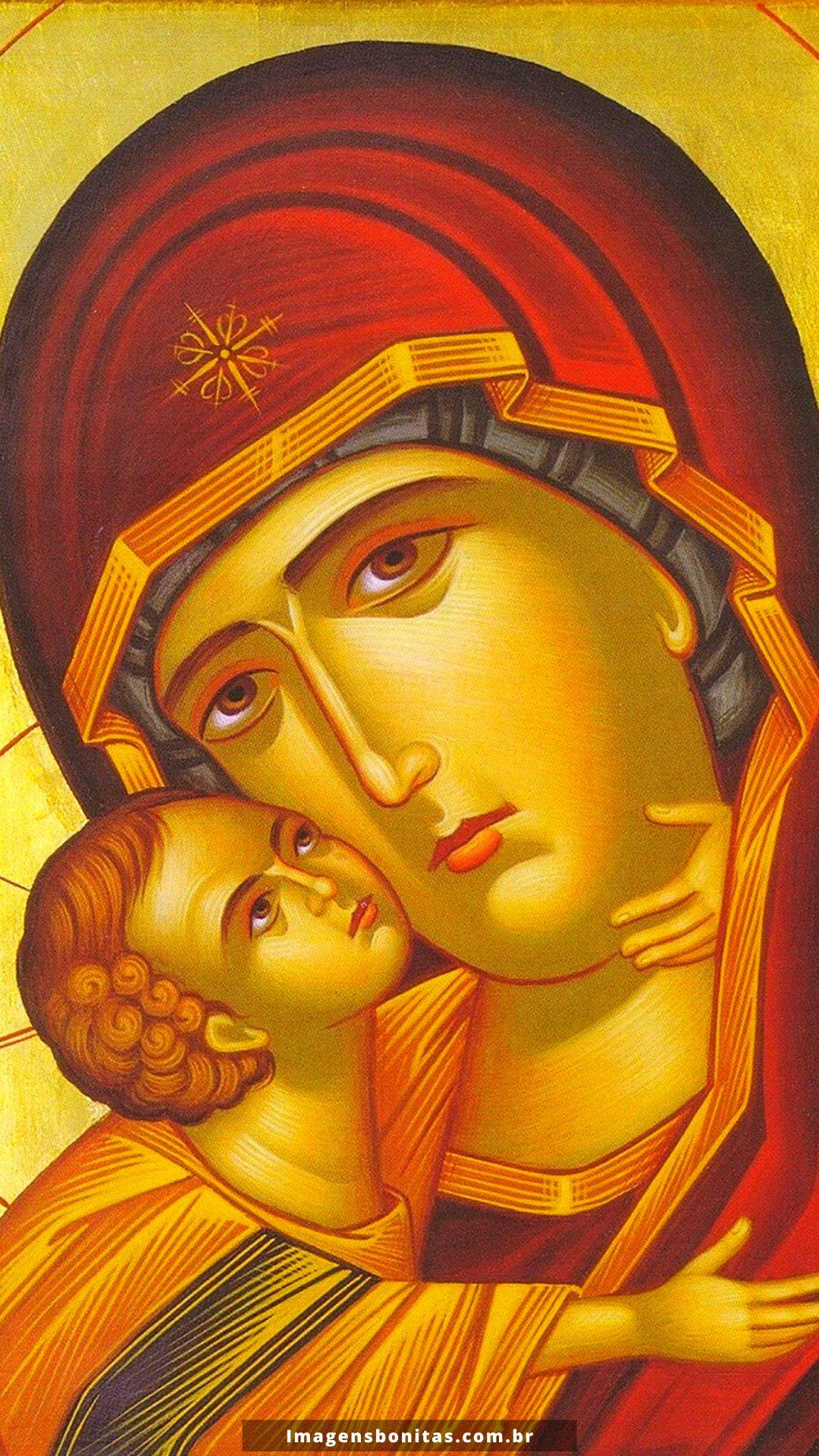 Wallpaper do Menino Jesus com a Virgem Maria para celular