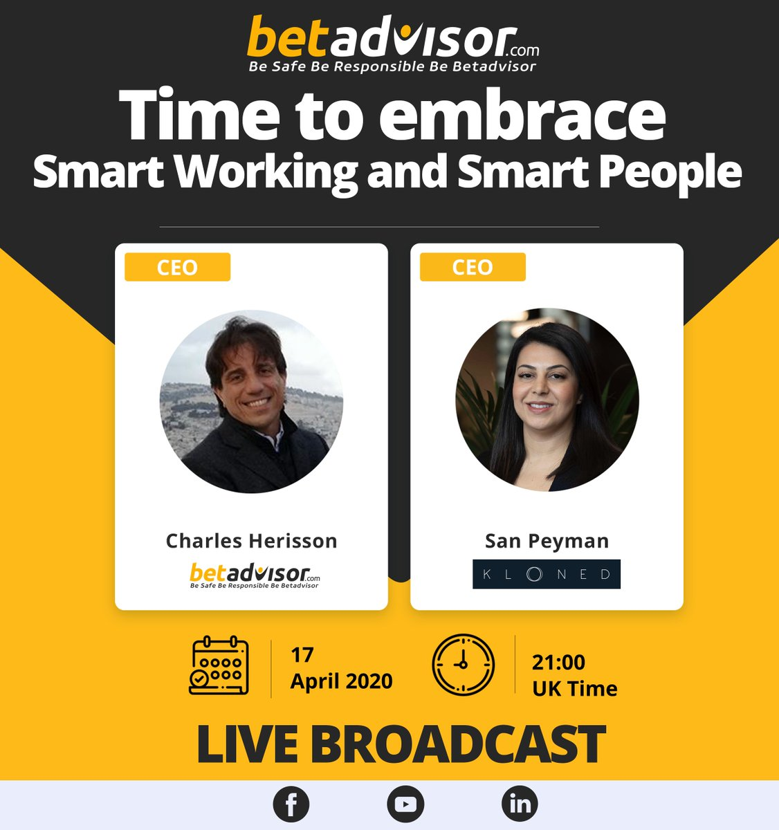 On April 17th at 21.00 PM UK Time, We will have a #live conversation on my #Linkedin #Facebook #Youtube with San Peyman   You can suggest new questions on comments.  Time to embrace Smart Working and Smart People.  What is Smart Working for you?   https://t.co/UKKcqGpzkM https://t.co/uIe2R0kip0