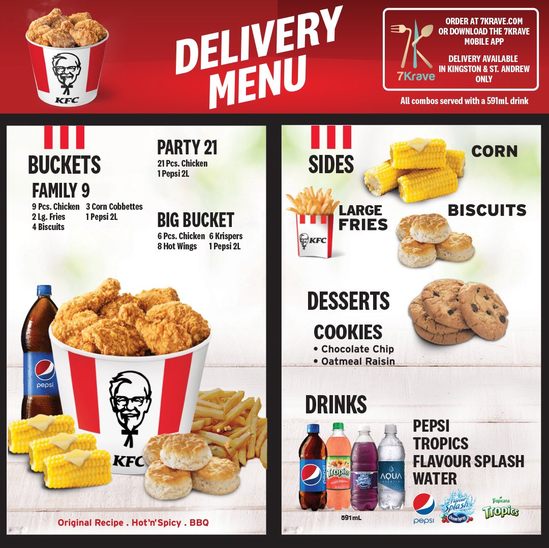 Kfc Jamaica On Twitter Have No Fear Kfcdelivery Is Here Swipe Left To See Our Delivery Menu And Visit Https T Co Gteeaquteb Or Download The 7krave App To Order Between 10 00am 6 30pm In