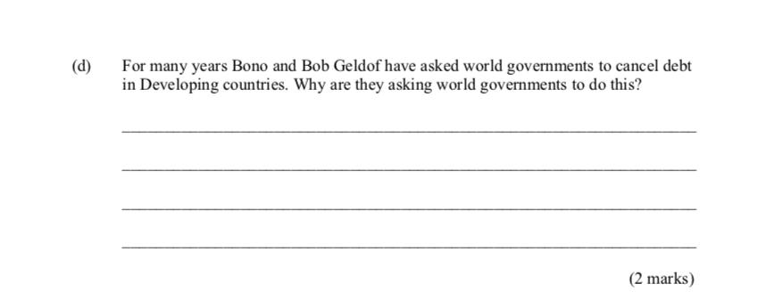 Did... did Bono write this? (2 marks)