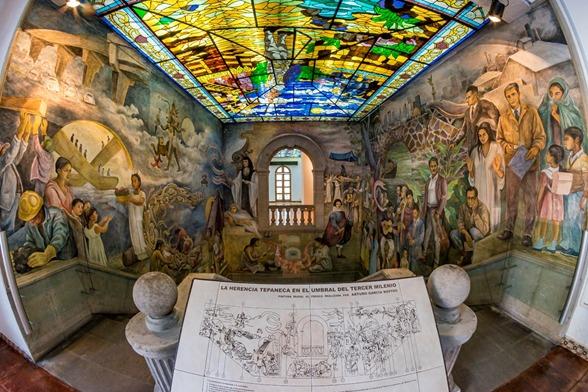 """vidal llerenas on Twitter: """"Casa de Cultura de #Azcapotzalco """"La Herencia  Tepaneca en el Umbral del Tercer Milenio"""" Pintura Mural al Fresco realizada  por Arturo García Bustos (1999) / Fotografía por Sayabil"""