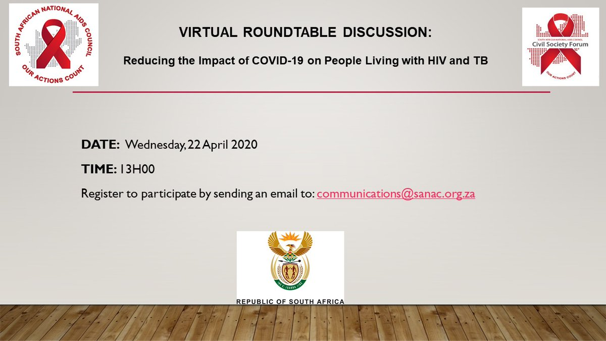 Today Prof Geoffrey Setswe, Aurum's Managing Director: Implementation Research Division will be part of this @SA_AIDSCOUNCIL roundtable in reducing the impact of #covid19 on people living with HIV and TB.  Login details below