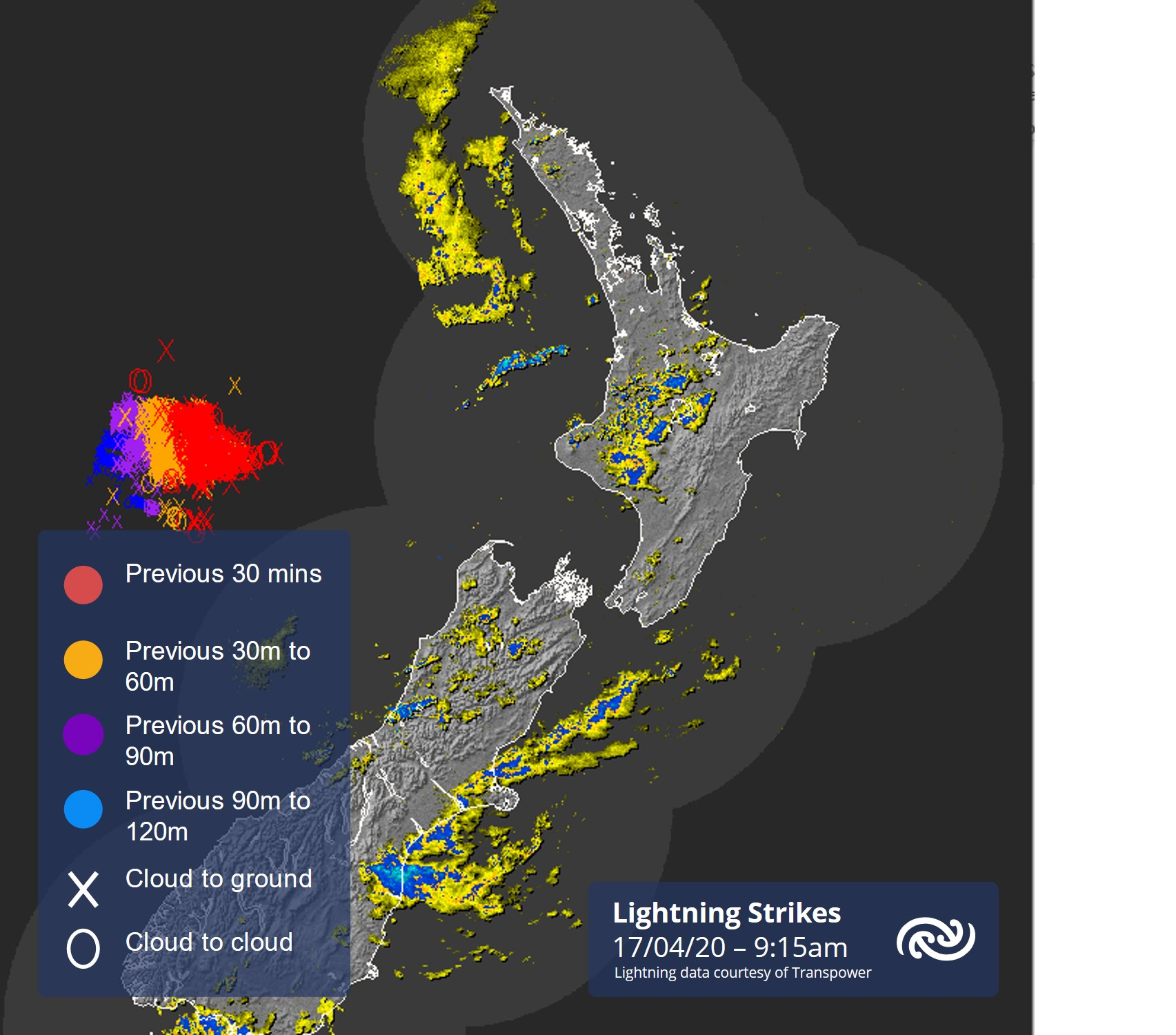 Lightning strikes we are now seeing to the west of NZ in the radar image below are forecast to move east today with the northwest corner of Buller and parts of western North Island likely to see localised thunderstorms. For more details see bit.ly/TSOutlook ^AC https://t.co/FpnaDjP2V8