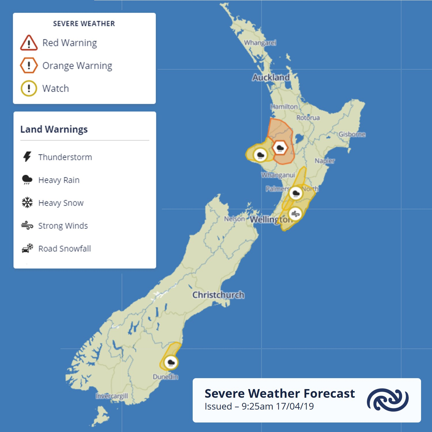 The latest Severe Weather Watches & Warnings includes parts of the North Island's high country which are under a Heavy Rain Warning from this evening. These charts are updated twice a day with the latest issue (and all it's details) available here bit.ly/AllWarnings ^AC https://t.co/FZxdDrrFOQ