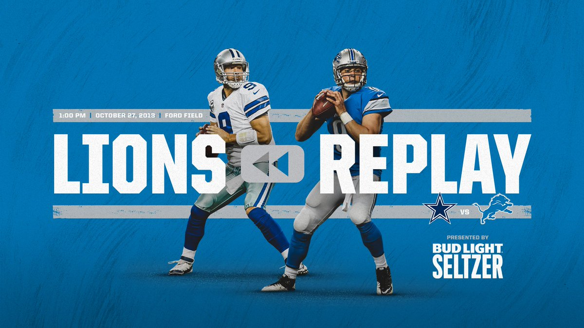 Follow along on YouTube or @NFL Game Pass Sunday at 1pm while we re-live tweet the 2013 #DALvsDET classic thriller.   #LionsReplay | @budlight<br>http://pic.twitter.com/ZZmY6CFJik