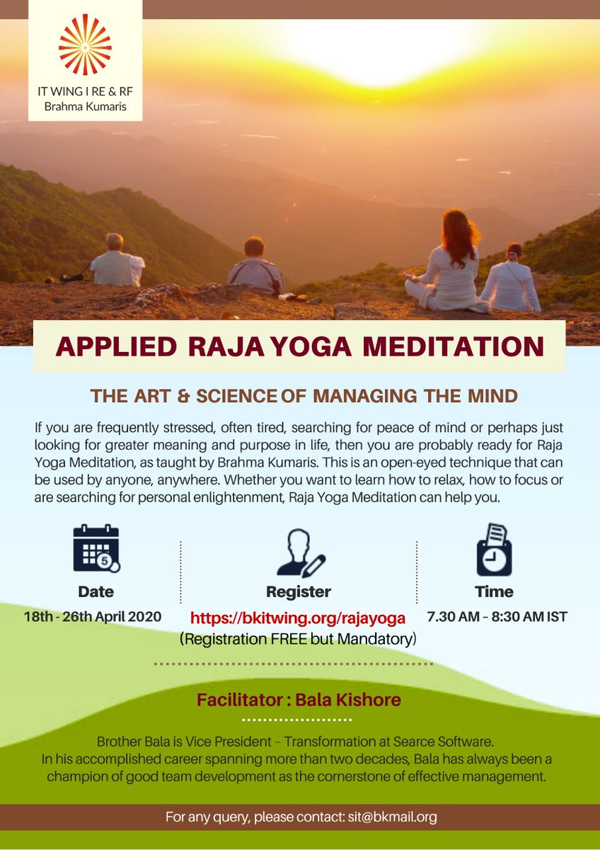 It Wing On Twitter It Wing Rerf Of Brahmakumaris Cordially Invites You To Join Online Webinar In English Applied Raja Yoga Meditation The Art Science Of Managing The