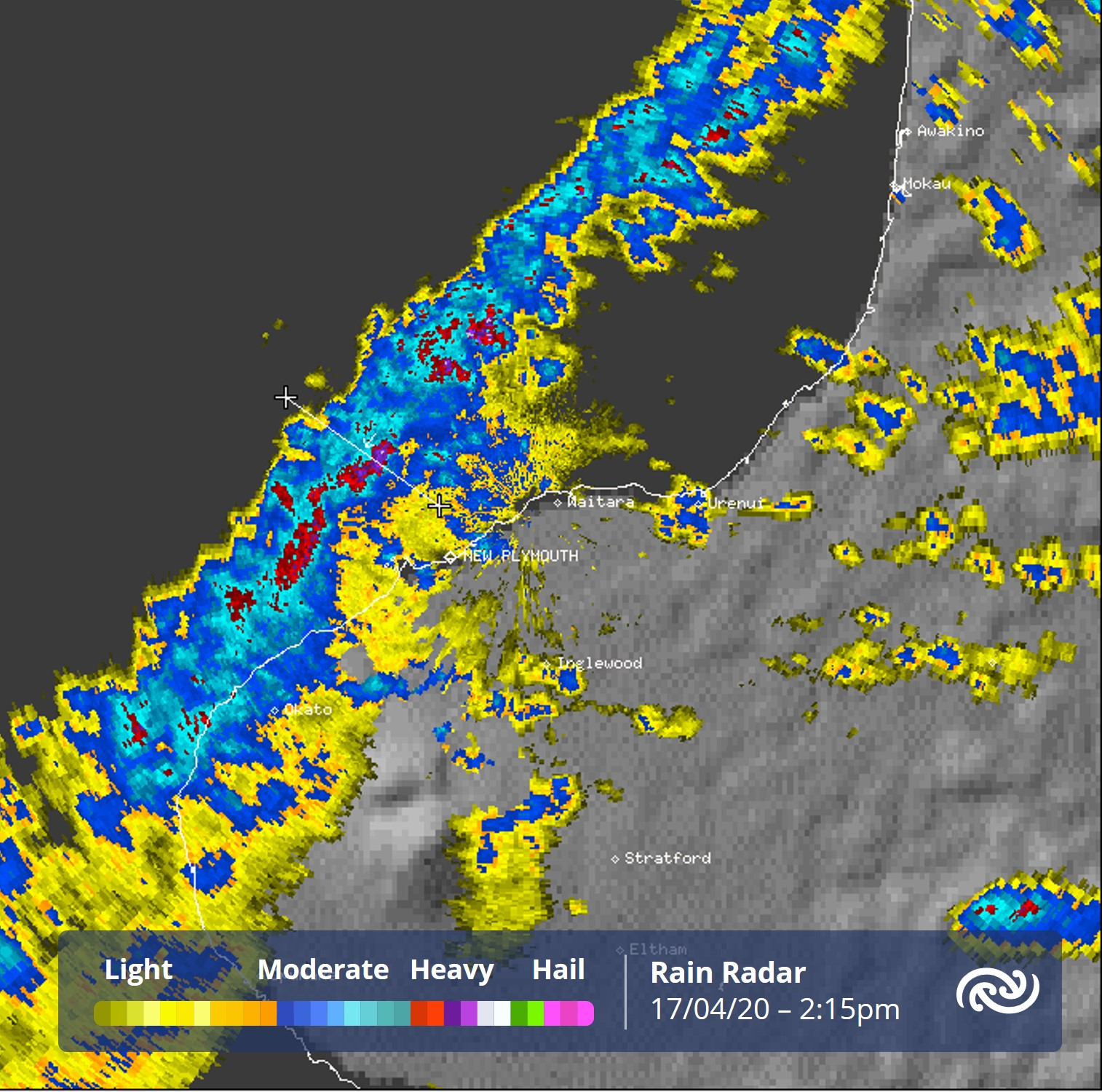 The first rain radar image shows a line of weakening  which just passed over New Plymouth. The second image shows a cross-section of this line - a tool our forecasters will be using a lot today to ascertain more info about the nature and life cycle stage the  is in. ^AC https://t.co/aACqzb5x5d