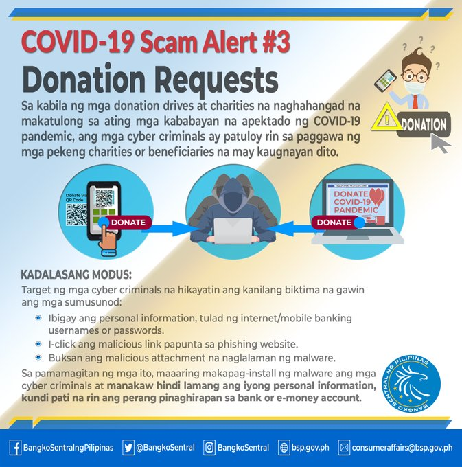 BSP Warns About Coronavirus Donation Scammers