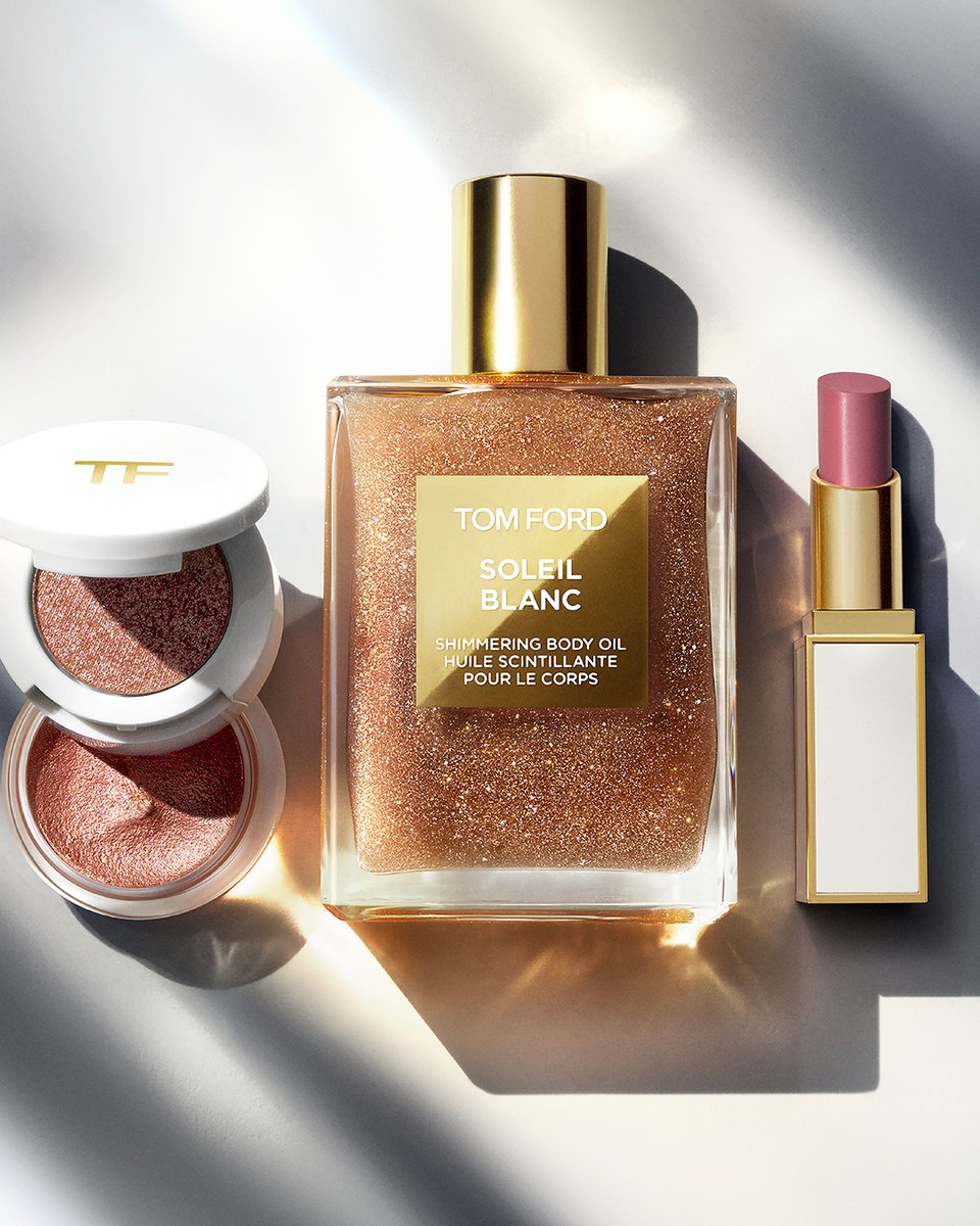 Tom Ford On Twitter Mesmerizing Glamour Requires An Irresistible Radiant Glow Cream And Powder Eye Color In 12 Reflection Soleil Blanc Shimmering Body Oil And Ultra Shine Lip Color In 07 Nubile