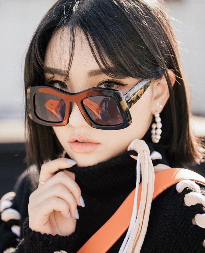 #KarenWalker as worn • @gyuri_pp in Wyndham Sunglasses  Eyewear Distributed by @quad22_thailand  #sunglassses #eyewear #meneyewear #quad22 #quad22thailand #womeneyewear #KarenWalkerEyewear