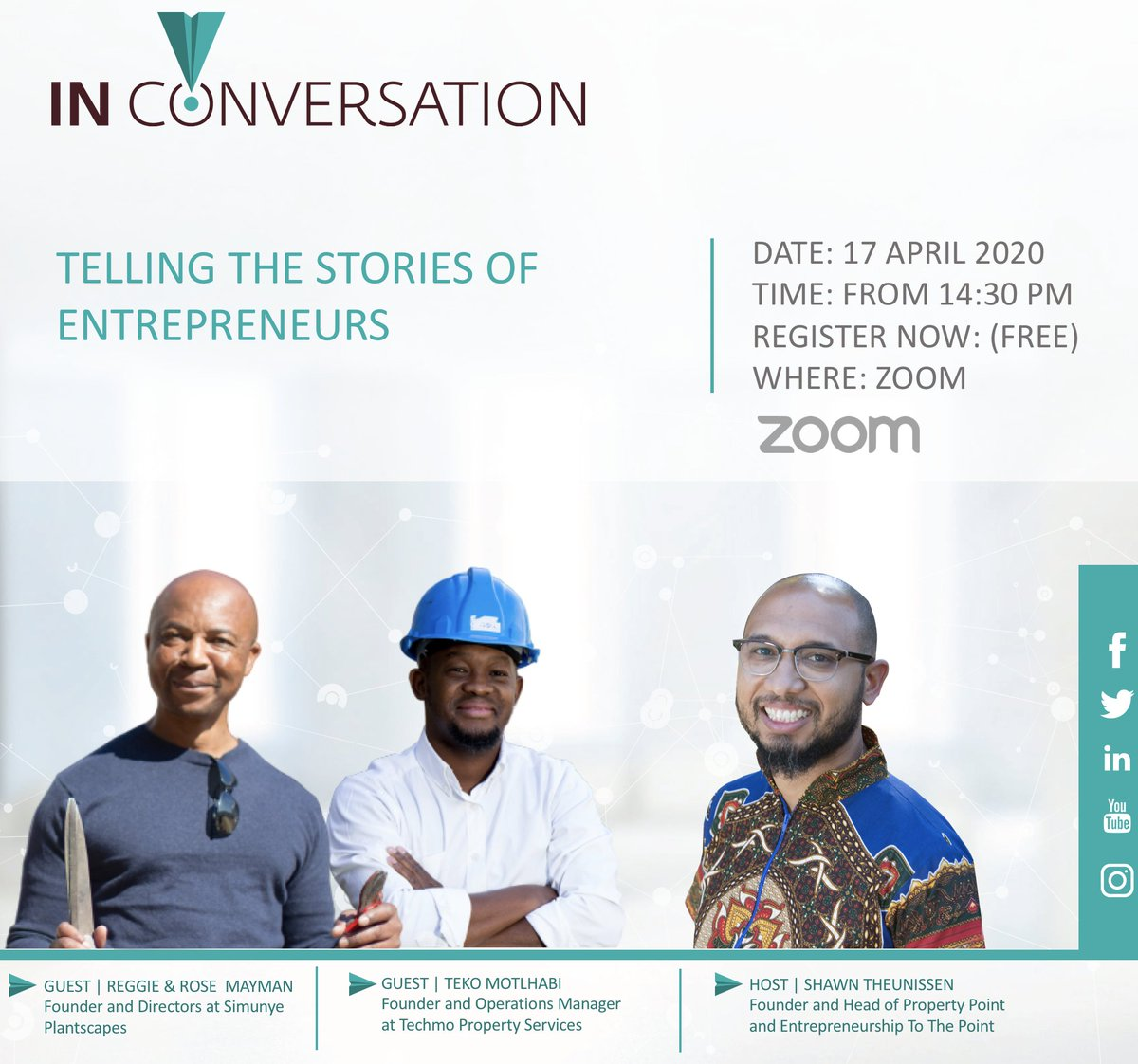 Join us at 14:30 as we continue our #InConversation session, telling the stories of entrepreneurs. We had a technical issue this morning but will be back at 14:30. Register free via this link https://t.co/a1iHmeWKfZ https://t.co/7DafXcBWRw https://t.co/SgoIObPnAb