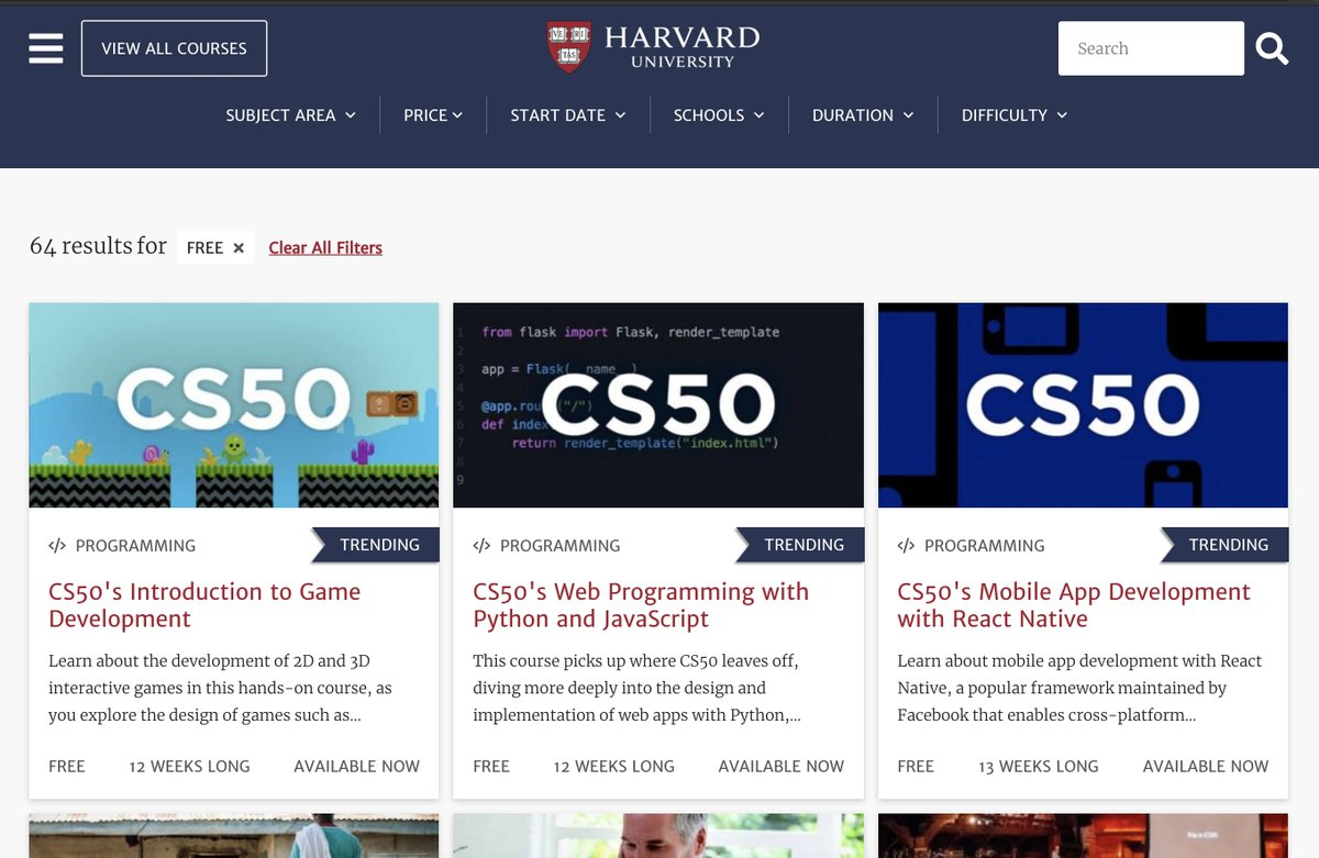 ICYMI, @Harvard is currently offering a great selection of self-paced courses for free. online-learning.harvard.edu/catalog?keywor…