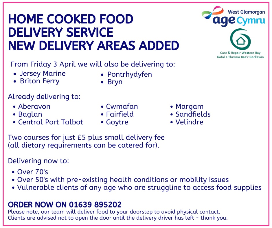 @AgeCymruWG has now added more areas for their delivery service! 🍽 If you want to order please call 01639 895202 👇