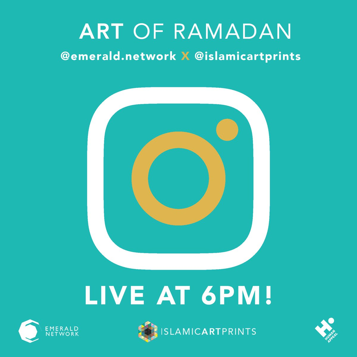 Calling all of our wonderful twitter followers who are on #instagram to head over at 6pm (BST) tonight for an exclusive chat with https://t.co/m6TXZg4YOn - talking about our #ArtofRamadan campaign connecting creator + creations in support of @HumanAppeal https://t.co/CIuBniG0OA