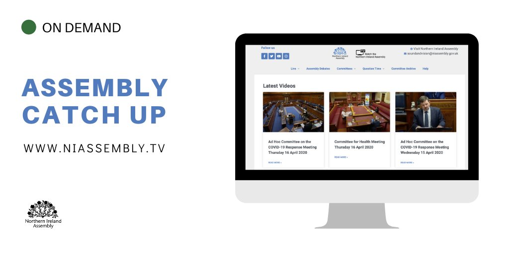 Catch up with any Committee meetings or debates you've missed on niassembly.tv