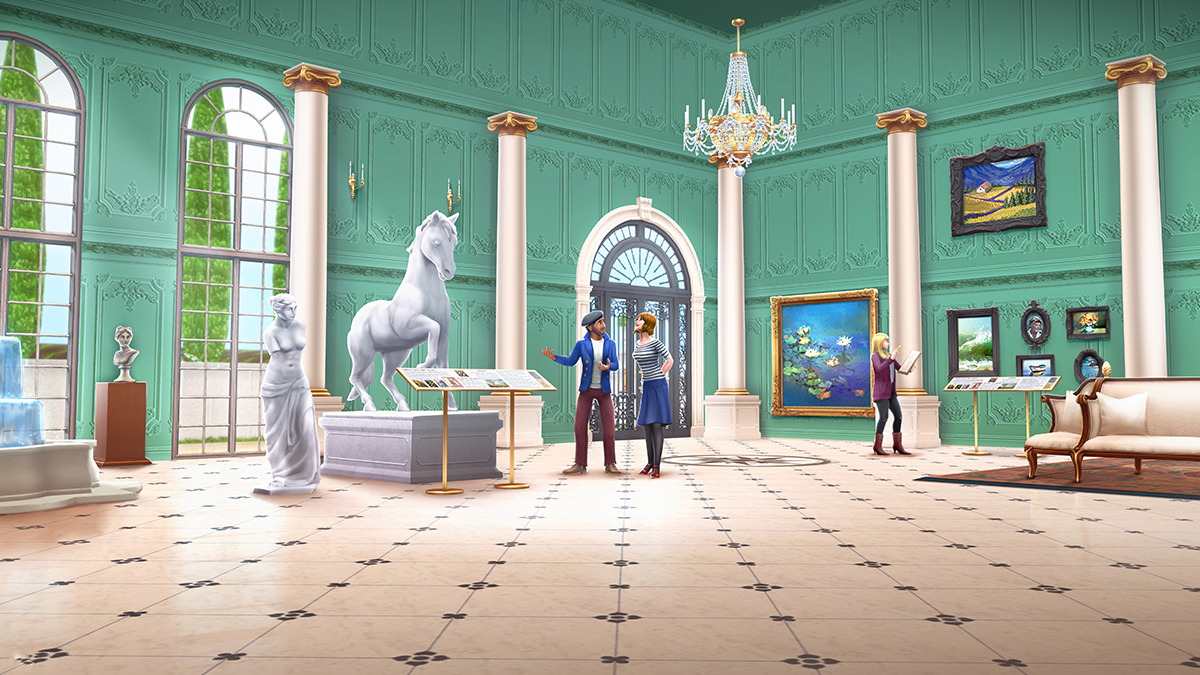 Parlez-vous français? 🇫🇷 Unlock your own spectacular art gallery for your Sims to critique and view antique treasures, sculptures and vintage paintings. 🖼️