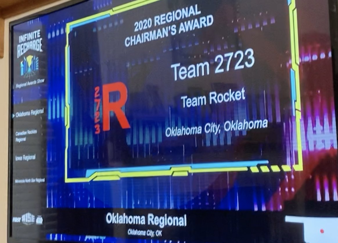 (1/2) We are honored to be recognized with the Chairman's Award for the Oklahoma Regional at the FIRST Virtual Awards Ceremony this evening from among so many other deserving teams. Katie A. is a Dean's List Finalist, and Jennifer A. won the Woodie Flowers Finalist Award!