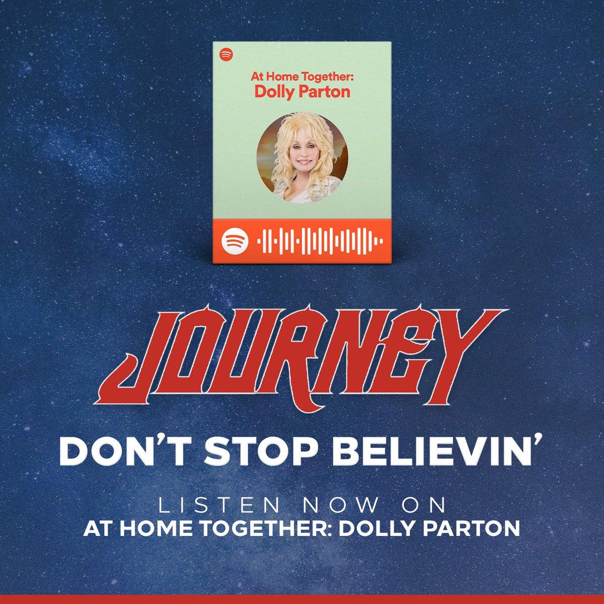 Big thx to @DollyParton & @selenagomez for adding #DontStopBelievin to their #TogetherPlaylists on @Spotify!   https:// bit.ly/JourneyAtHomeT ogether  …    https:// bit.ly/JourneyCooking Together  … <br>http://pic.twitter.com/xTVdFC5xAC